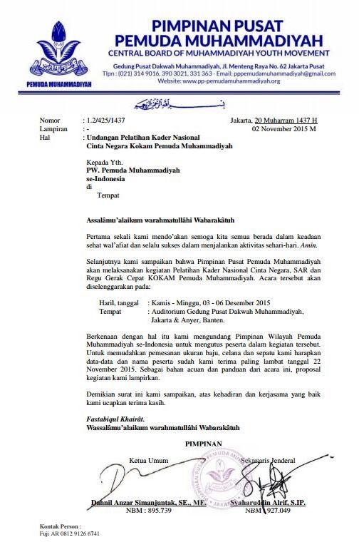 Undangan Resmi Pelatihan Kader Nasional Kokam